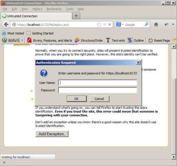 Login to MsDeploy in Firefox
