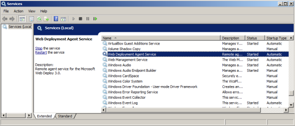 Windows Services required for remote IIS deployment
